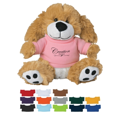 "6"" Plush Big Paw Dog With Shirt"