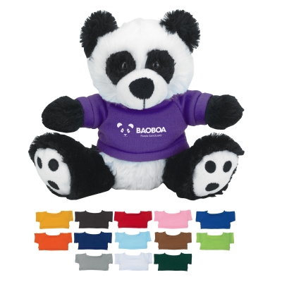 "6"" Plush Big Paw Panda With Shirt"