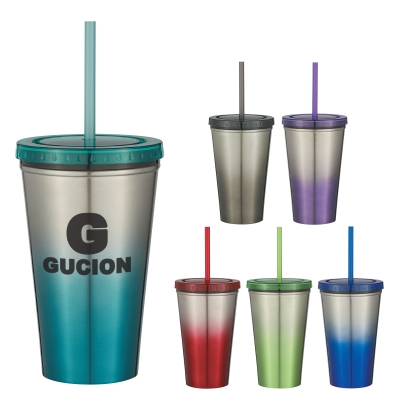 - 16 Oz. Stainless Steel Double Wall Chroma Tumbler With Straw